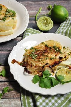 cilantro sauce These roasted cabbage steaks drizzled with a refreshing cilantro lime sauce to intensify the flavor satisfy both vegetarians and meat-eaters alike. Grilled Cabbage, Roasted Cabbage, Vegetarian Recipes Easy, Healthy Recipes, Sweets Recipes, Delicious Recipes, Free Recipes, Healthy Food, Cabbage Steaks