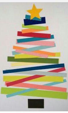 Xmas tree crafts for kids! Christmas Tree Crafts, Noel Christmas, Christmas Projects, Winter Christmas, Holiday Crafts, Simple Christmas, Christmas Card Ideas With Kids, Paper Christmas Trees, Kids Christmas Art