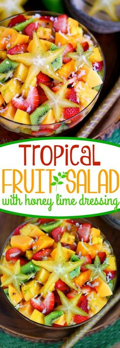 This Tropical Fruit Salad with Honey Lime Dressing is going to be the star of the show! Featuring a variety of tropical fruit and tossed with a honey lime dressing, there's a bright burst of flavors in every bite! This easy salad recipe is bound to become Easy Salads, Summer Salads, Healthy Snacks, Healthy Eating, Healthy Recipes, Vegetarian Recipes, Tropical Fruit Salad, Hawaiian Fruit Salad, Hawaiian Coleslaw