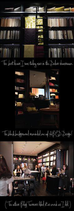 The Dedar showroom, #LDF11 BlogTour2011 day 4, via @GARY YANG Dragoo's blog report (gooorgeous as always, love the aubergine-mustard against the black walls at Dedar!)