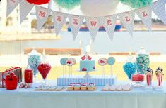blue,red and white birthday party for little boy | Little Red Car Party – What an amazing party with every detail ...