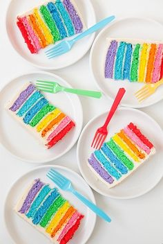A rainbow cake is fun to look at and eat and a lot easier to make than you might think. Here's a step-by-step guide for how to make a rainbow birthday cake. Anniversaire Candy Land, Anniversaire My Little Pony, My Little Pony Birthday Party, Rainbow Birthday Party, Cake Birthday, Birthday Ideas, Candy Land Birthday Party Ideas, Happy Birthday, Rainbow Wedding