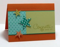 graduation card, signature greetings, star prints, polka dot basics