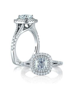 Alexis Diamond House Classic Double Halo Cushion Engagement Ring By A