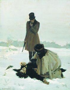 The Duel. Illustration for Eugene Onegin by Lydia Tymoshenko