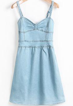 Blue Spaghetti Strap Bow Denim Dress - Sheinside.com