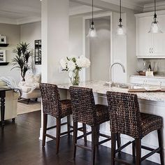 Seagrass Barstools are looking stunning in this beautiful kitchen.  #kitchengoals #interiordesign #MyPotteryBarn                                                                                                                                                                                 More