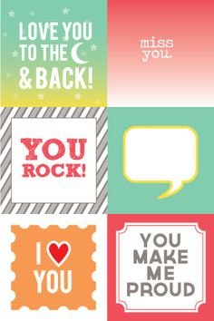 Chic Tags - Freebie Printable - Lunch Box Notes