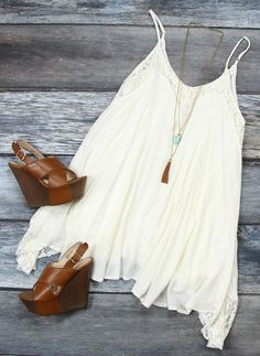 Girly & Boho. White Flowy Dress & Brown Wedges.