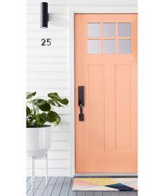 Coral Front Doors, Coral Door, Front Door Paint Colors, Painted Front Doors, Front Door Lighting, Front Door Decor, Exterior Doors, Entry Doors, Entrance