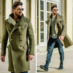 An olive overcoat and navy jeans are absolute must-haves if you're planning a classy wardrobe that holds to the highest fashion standards. Break up this ensemble by rounding off with a pair of black leather dress boots. Gentleman Mode, Gentleman Style, Mode Masculine, Look Fashion, Winter Fashion, Stylish Men, Men Casual, Style Masculin, Black Leather Dresses