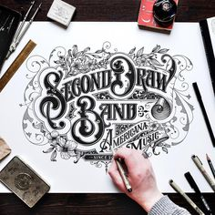 I'm currently working on some larger drawings for some clients like this one for a band named Second Draw from Virginia. I had so much fun drawing this! Definitely a great project to start the new year! Tattoo Lettering Fonts, Lettering Styles, Lettering Design, Logo Design, Calligraphy Letters, Typography Letters, Typography Inspiration, Graphic Design Inspiration, Design Ideas