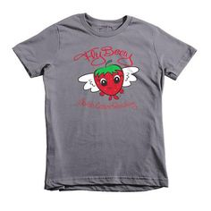 Strawberry Kids T-Shirt FlyBerry™ Kiddo Slogan Logo - Short Sleeve Cotton Kids T-Shirt - Kids Tee - Strawberry Shirt for Little Kids