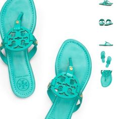 Worn once Tory burch turquoise Miller sandals In brand new condition 100% authentic Tory Burch Shoes