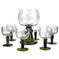 Austrian Römer Wine Glass Set Etched Grape by AudreyWouldVintage