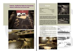 Teatros. Salas de Conciertos  Auditoriums and Concert Halls Architecture Design, Catalog, Concert Hall, Theatres, Auditorium, Architecture Layout, Architecture Illustrations, Architecture