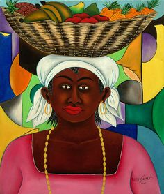 Yellow Beads - Painting by Roger François. - Haiti