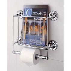 Chrome Wall Mount Magazine Rack & Toilet Paper Holder