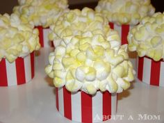 Movie Theater Popcorn Cupcakes. The cutest cupcakes I've ever seen, I would make these gluten free smore flavored cupcakes- hm I see a natural recipe makeover coming soon.