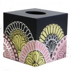 Misc : Mango Wood Tissue Box Holder Hand Painted Golden Floral Design