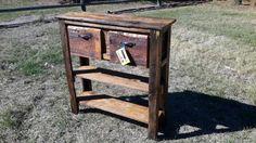 Reclaimed wood / barn wood sofa table  entryway table by 406Rustic
