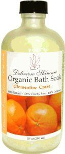 Clementine Nourishing Bath Crystals by Delizioso Skincare. $28.00. Cruelty Free. Made In Canada. 85% Certified Ingredients. Gluten Free. 100% Natural. The 100% Natural Exquisite Clementine Bath salt contains over 100 nourishing trace minerals and elements from Dead Sea salt, Peruvian salt and Bali reef salt. With added organic buttermilk powder for extra super nourishment and for silky soft skin. Pure salt crystals will quickly dissolve in your tub water leaving a delightful an...