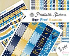 Printable stickers Harry Potter maison Serdaigle | 3 pdf | Téléchargement instantané | Planner, Happy planner