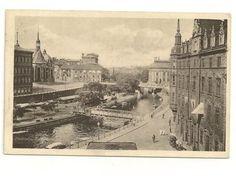 Vykort stockholm riddarholmskanalen båtar i bild