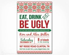 Items Similar To Ugly Sweater Invitation Printable Diy Digital File Tacky Christmas Party Invite Green Red On Etsy