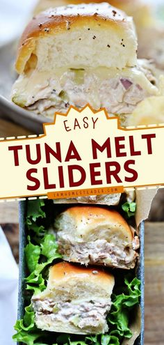 This Tuna Melt Sliders recipe is a delicious dinner recipe that's easy to put together! The combination of tuna with melty cheese is mouthwatering. They make a great 4th of July appetizer idea too! Grilled Burger Recipes, Grilling Recipes, Cooking Recipes, Grilled Cheeses, Cooking Ideas, Easy Recipes, Finger Food Appetizers, Yummy Appetizers, Appetizer Recipes