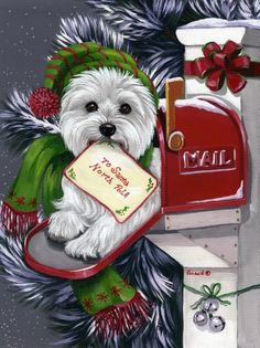 Precious Pet Paintings West Highland Terrier W X H Christmas Flag Christmas Scenes, Noel Christmas, Christmas Animals, Vintage Christmas, Christmas Crafts, Christmas Decorations, Christmas Puppy, Highlands Terrier, West Highland Terrier
