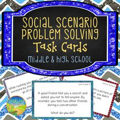 """This is a pack of 100 task cards that highlight social scenarios and situations that kids can discuss and identify how they would solve each situation. The social situation cards are organized into five different sets that target different situations: With friends, with family, in classes, in the hallway and cafeteria, and online and texting.These cards are great for students with social difficulties and those who are rigid and might get """"stuck"""" in their way of thinking."""