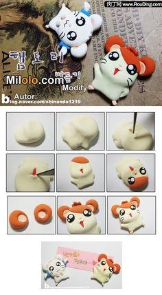 Polymer Clay Hamtaro and Bijou Fimo Polymer Clay, Diy Fimo, Crea Fimo, Polymer Clay Miniatures, Polymer Clay Projects, Polymer Clay Creations, Clay Crafts, Polymer Clay Jewelry, Hamtaro