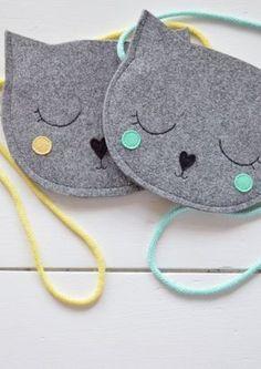 Sac enfant, sac à main pour fille, cadeau pour fille, chat sac, Mini gris pour enfants sac sac pour enfant, sac à main enfants, animaux, fait à la main, sac de fille, pastel