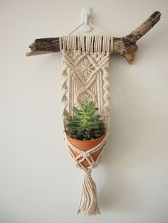 Macrame Plant Hanger Wall Hanging Fits Mini Pot Woven Indoor Vertical Garden Handmade Home Decor Interior Design Hanging Plants - MALUA This beautiful little hanging basket is handmade, with fine details and a magnificent tassel. Macrame Plant Hangers, Crochet Plant Hanger, Macrame Plant Holder, Macrame Curtain, Macrame Projects, Macrame Art, Macrame Knots, Micro Macrame, Macrame Patterns
