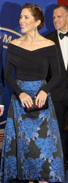 Crown Princess Mary also wore a pair of gorgeous blue dangling earrings and a large ring on her right hand.