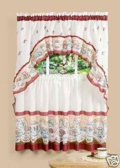 mainstays sunflower 3-piece kitchen curtain set | kitchen curtains