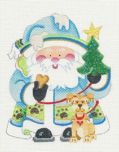 Strictly Christmas Santa Puppy Dog on Leash Handpainted HP Needlepoint Canvas   eBay  $54