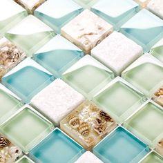Kitchen backsplash made of sea glass.