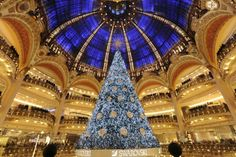 large christmas tree with blue lights