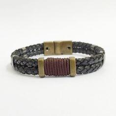 65c5d7351f2 Pulseira Masculina Couro Fecho Imã Gereedschap, Gevlochten Leder, Lederen  Armbanden, Vintage Leer,