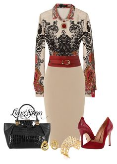 A fashion look from December 2013 featuring Etro blouses, Sigerson Morrison pumps and Lanvin tote bags. Browse and shop related looks. Classy Outfits, Chic Outfits, Fall Outfits, Fashion Outfits, Womens Fashion, Fashion Trends, Peach Outfits, Dress Outfits, Jw Mode