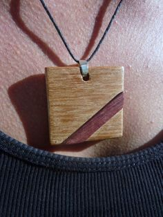 Purple wooden necklace. Precious wood jewelry. Amaranth and mahogany pendant.