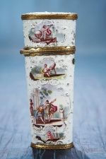 FRENCH ENAMEL ETUI WITH EIGHT SCENES   Late 18th century.