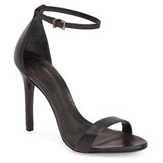 Women's Schutz 'Cadey Lee' Sandal ($170) ❤ liked on Polyvore featuring shoes, sandals, black leather, leather heeled sandals, black heeled sandals, ankle wrap sandals, black ankle wrap sandals and ankle strap shoes