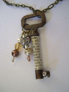 New Ideas Jewerly Making Vintage Key Necklace Wire Jewelry, Jewelry Crafts, Jewelry Art, Beaded Jewelry, Handmade Jewelry, Jewelry Design, Jewellery, Pendant Jewelry, Jewelry Ideas