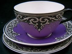 Tea time in lovely purple and black and white colors design on china