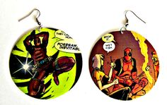 The Original Upcycled Vintage Comic Book Earrings by Customcomix, even better ones