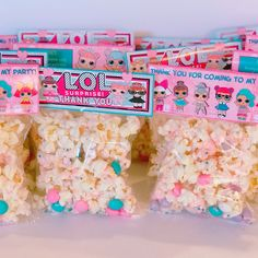 LOL Surprise inspired popcorn favors! #loldolls #loldolls #lolsurpriseparty #lolsurprisebirthday #lolsurprisetheme #popcorn #popcornfavors #etsy #etsyseller #etsyshop #elegantlolliesllc #tampafl #tampatreatmaker #tampatreats