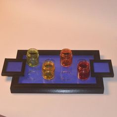 Wooden Shot Serving Tray or Trays, Blue - FOLKBRIDGE.COM   Buy Gifts. Indian Handicrafts. Home Decorations.